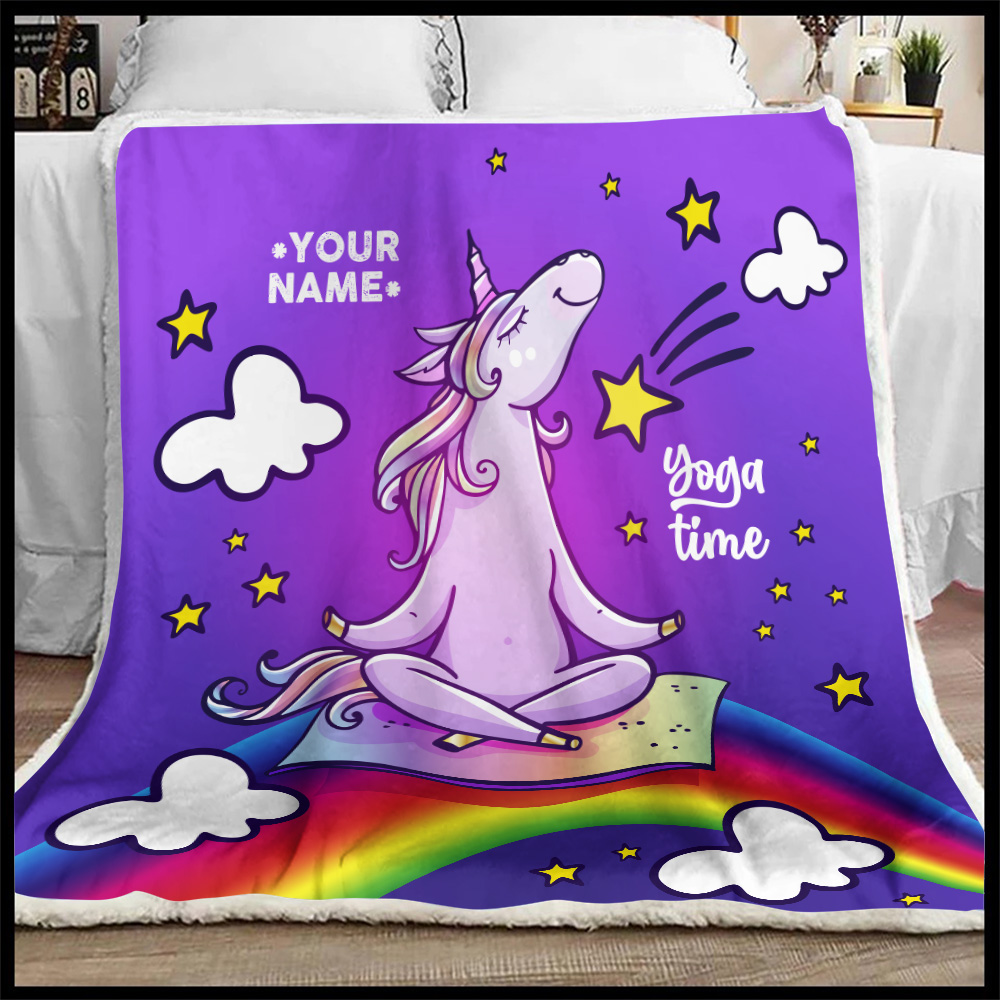 Personalized Fleece Throw Blanket Unicorn Yoga Time Pattern 2 Lightweight Super Soft Cozy For Decorative Couch Sofa Bed
