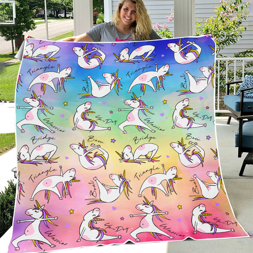 Personalized Fleece Throw Blanket Unicorn Yoga Time Pattern 1 Lightweight Super Soft Cozy For Decorative Couch Sofa Bed