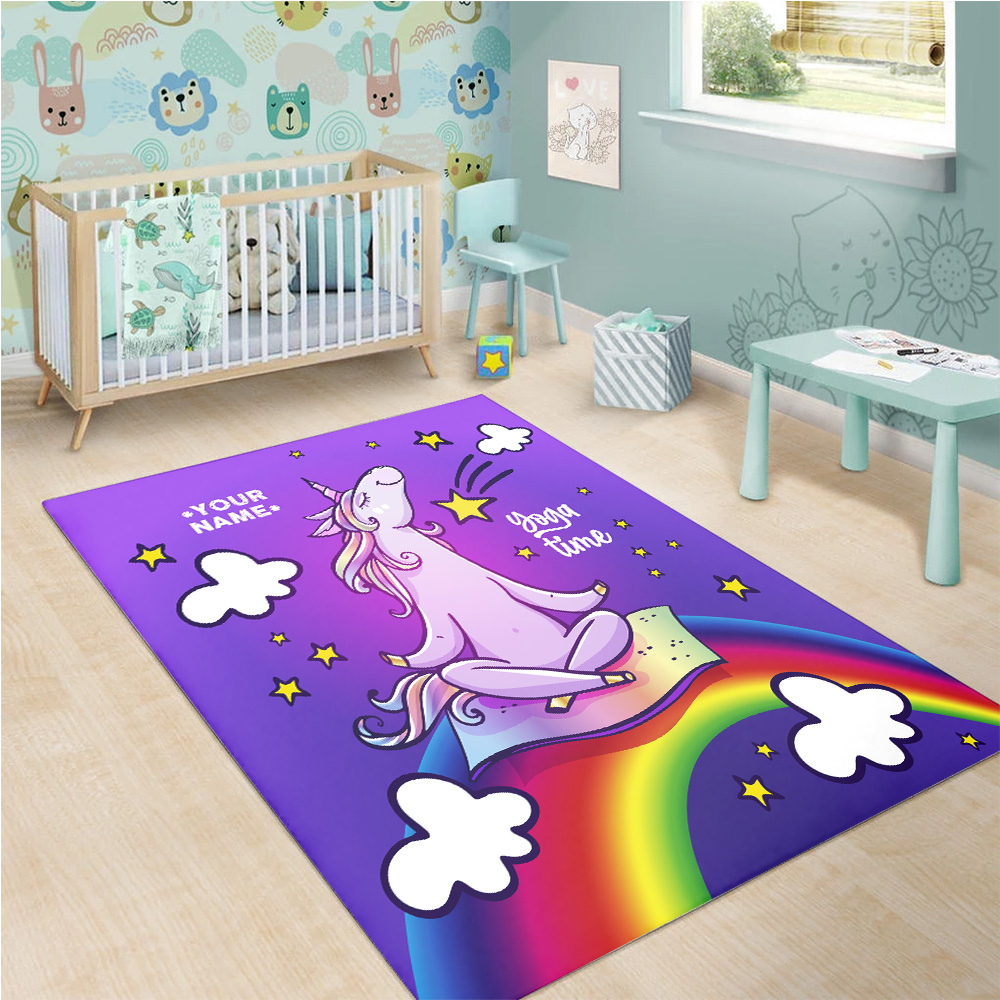 Personalized Floor Area Rugs Unicorn Yoga Time Pattern 2 Indoor Home Decor Carpets Suitable For Children Living Room Bedroom Birthday Christmas Aniversary