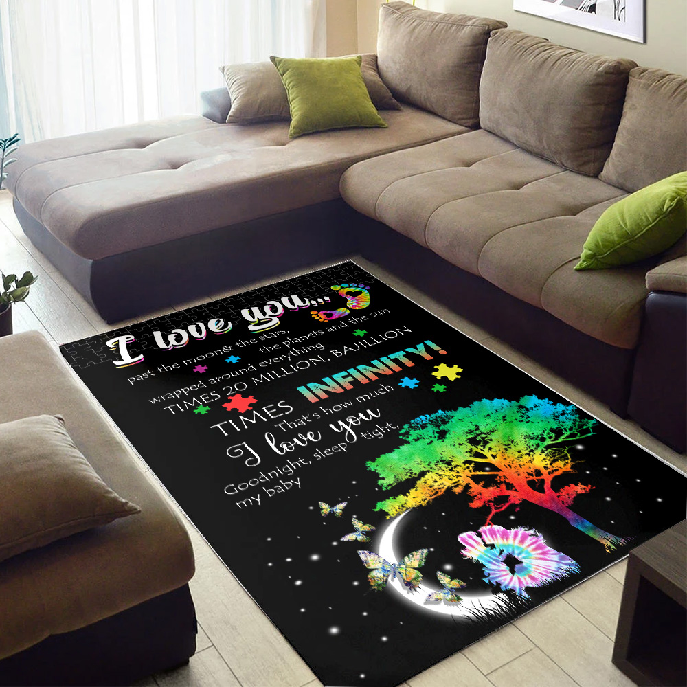 Personalized Floor Area Rugs I Love You….I Love You Good Night, Sleep Tight, My Baby Pattern 1 Indoor Home Decor Carpets Suitable For Children Living Room Bedroom Birthday Christmas Aniversary