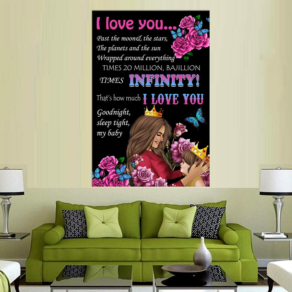 Personalized Wall Art Poster Canvas 1 Panel I Love You….I Love You Good Night, Sleep Tight, My Baby Pattern 2 Great Idea For Living Home Decorations Birthday Christmas Aniversary