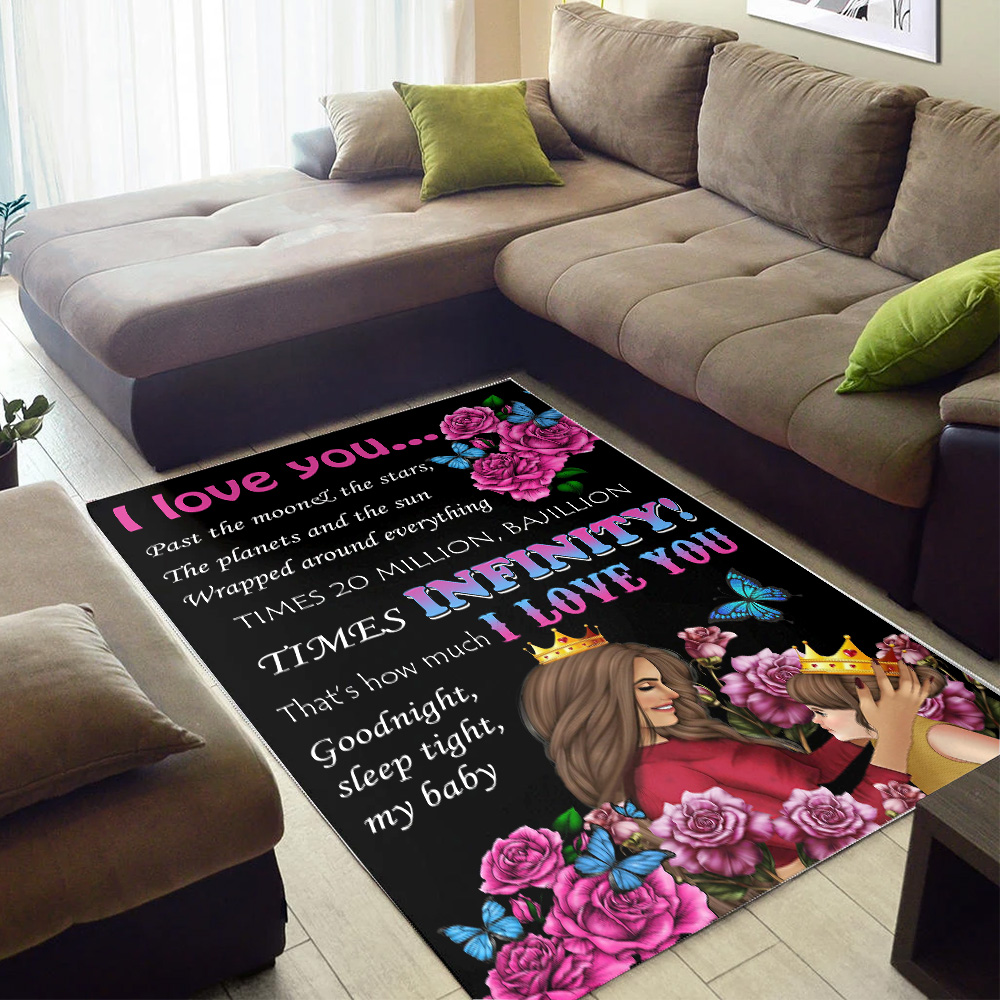 Personalized Floor Area Rugs I Love You….I Love You Good Night, Sleep Tight, My Baby Pattern2 Indoor Home Decor Carpets Suitable For Children Living Room Bedroom Birthday Christmas Aniversary