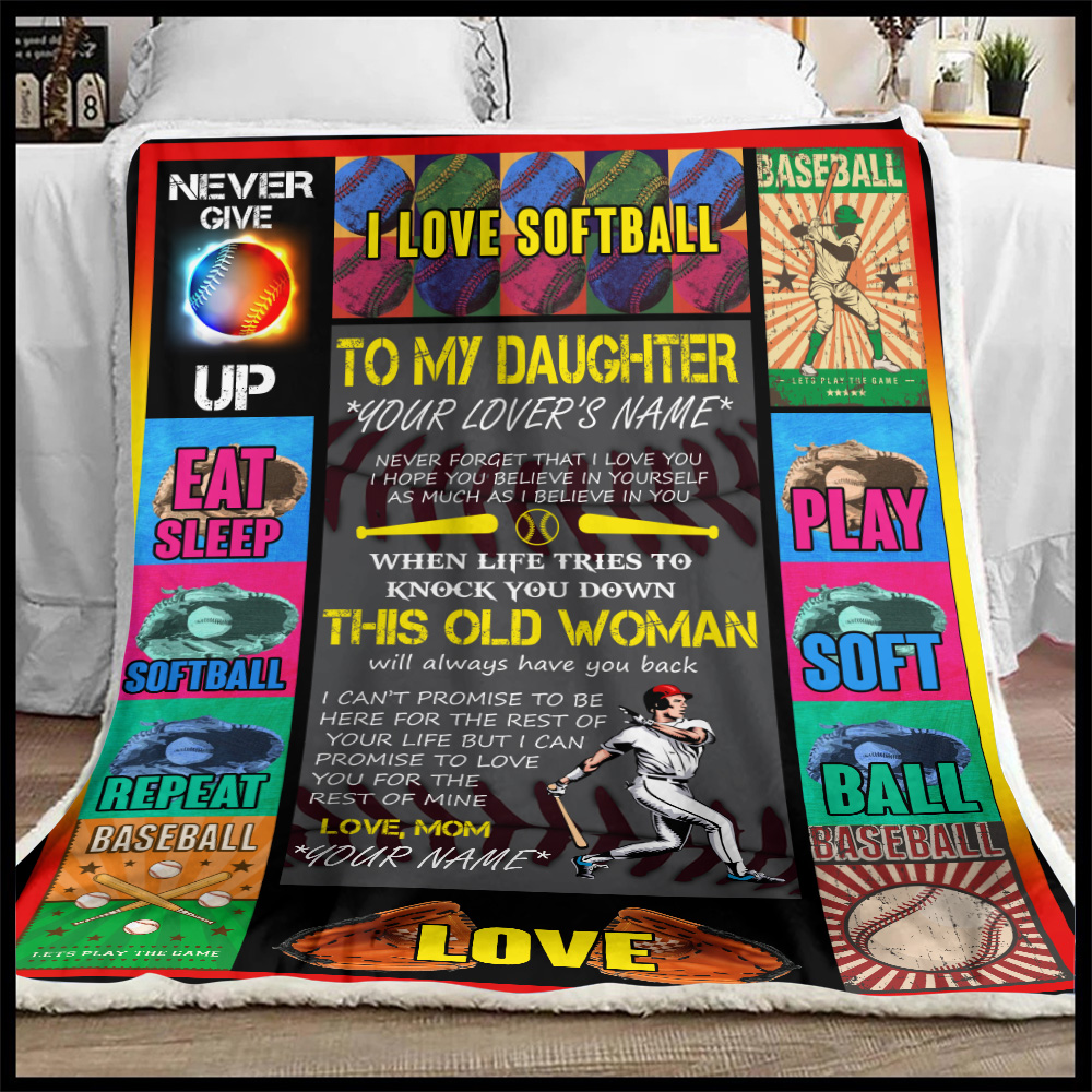 Personalized Fleece Throw Blanket To My Softball Daughter This Old Woman Will Always Have Your Back Lightweight Super Soft Cozy For Decorative Couch Sofa Bed
