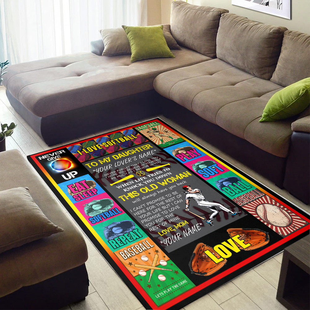 Personalized Floor Area Rugs To My Softball Daughter This Old Woman Will Always Have Your Back Indoor Home Decor Carpets Suitable For Children Living Room Bedroom Birthday Christmas Aniversary