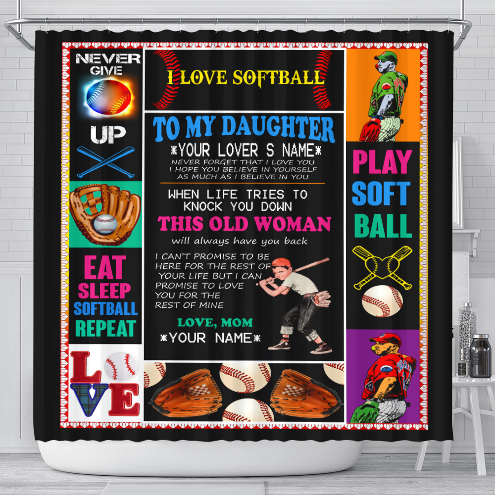 Personalized Shower Curtain 71 X 71 Inch To My Softball Daughter This Old Woman Will Always Have Your Back Set 12 Hooks Decorative Bath Modern Bathroom Accessories Machine Washable