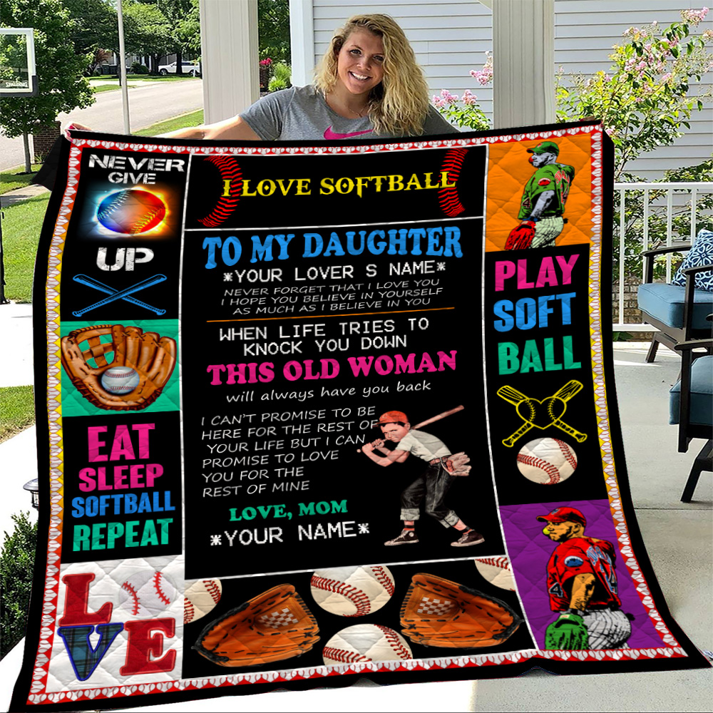 Personalized Quilt Throw Blanket To My Softball Daughter This Old Woman Will Always Have Your Back Lightweight Super Soft Cozy For Decorative Couch Sofa Bed