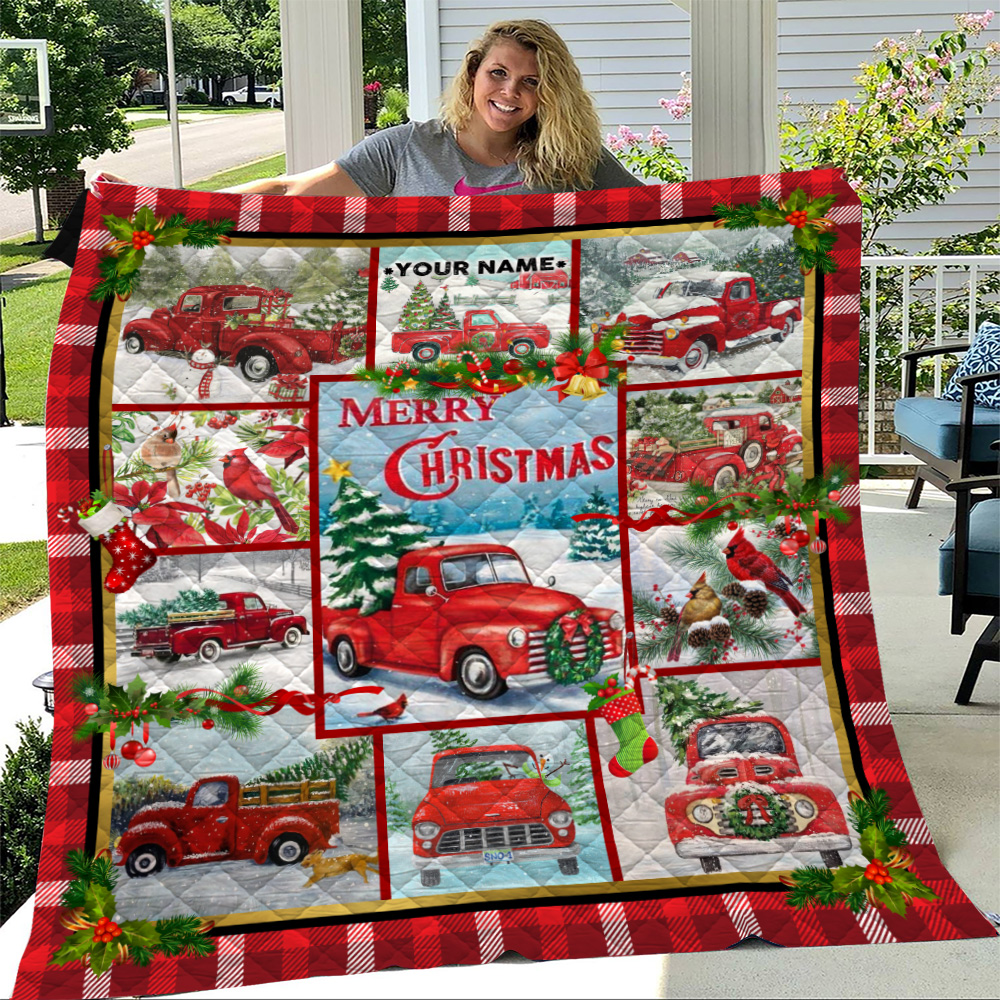 Personalized Quilt Throw Blanket Red Pickup Trucks With Christmas Tree Pattern 2 Lightweight Super Soft Cozy For Decorative Couch Sofa Bed