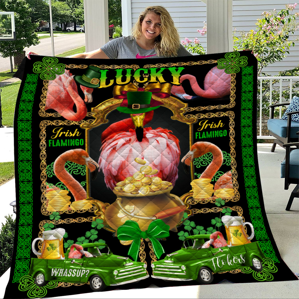 Personalized Lovely Quilt Throw Blanket St Patrick's Day Heart Irish Flokers Pattern 1 Lightweight Super Soft Cozy For Decorative Couch Sofa Bed