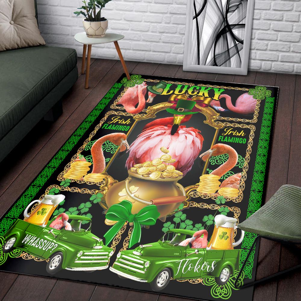 Personalized Lovely St Patrick's Day Heart Irish Flokers Pattern 1 Vintage Area Rug Anti-Skid Floor Carpet For Living Room Dinning Room Bedroom Office