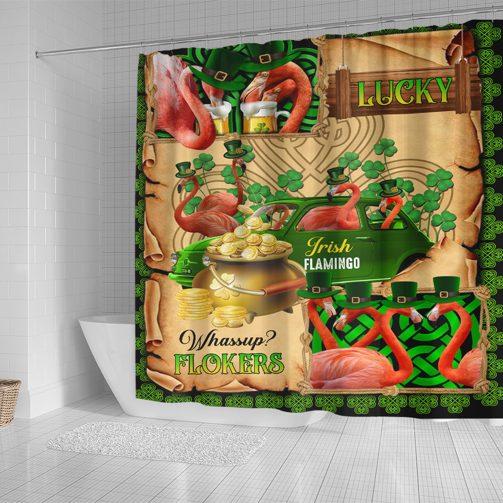 Personalized Lovely Shower Curtain St Patrick's Day Heart Irish Flokers Pattern 2 Set 12 Hooks Decorative Bath Modern Bathroom Accessories Machine Washable