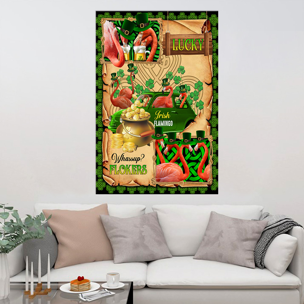Personalized Lovely Wall Art Poster St Patrick's Day Heart Irish Flokers Pattern 2 Prints Decoracion Wall Art Picture Living Room Wall