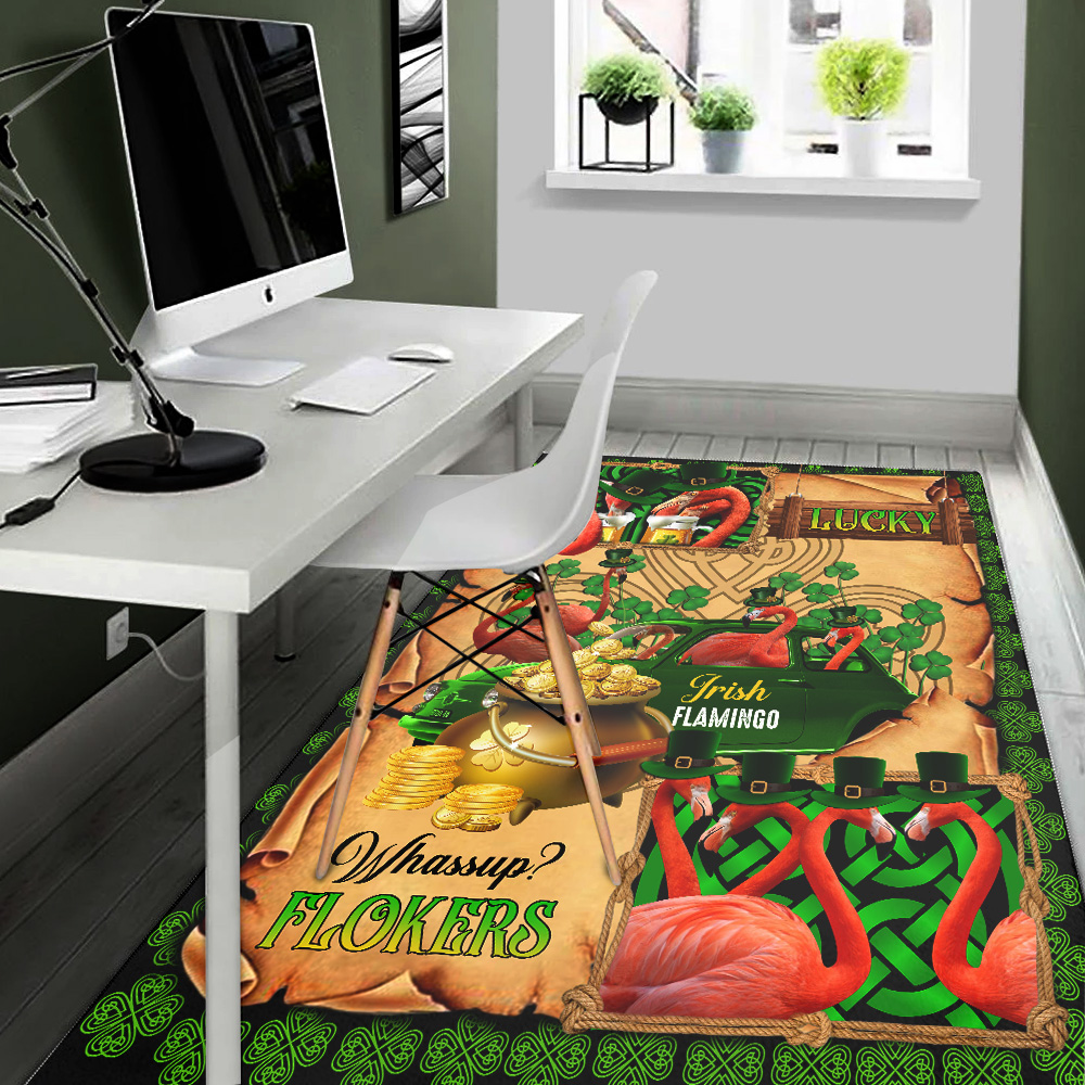 Personalized Lovely St Patrick's Day Heart Irish Flokers Pattern 2 Vintage Area Rug Anti-Skid Floor Carpet For Living Room Dinning Room Bedroom Office