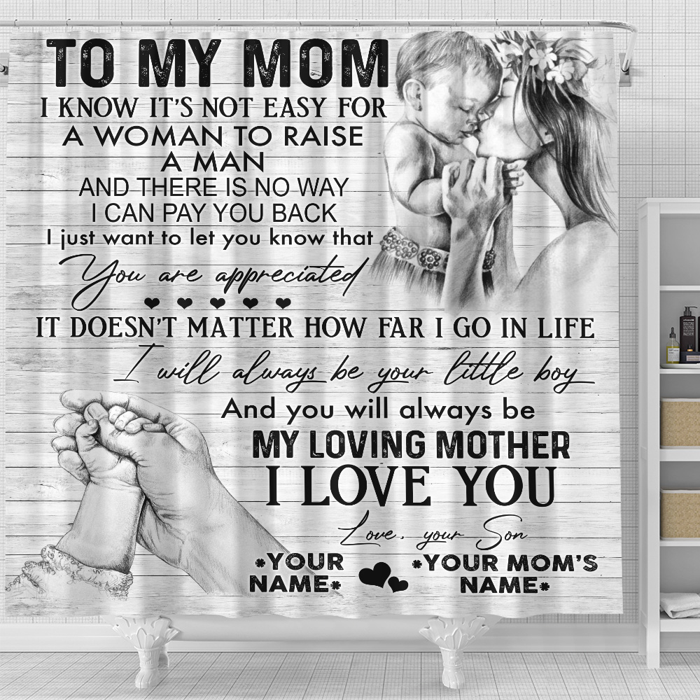 Personalized Lovely Shower Curtain To My Mom I Will Always Be Your Little Boy Pattern 2 Set 12 Hooks Decorative Bath Modern Bathroom Accessories Machine Washable