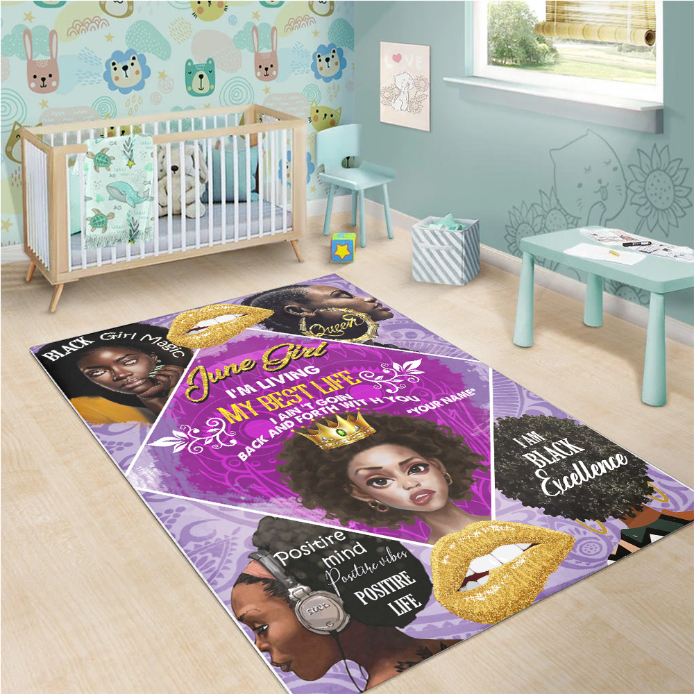 Personalized June Girl I'm Living My Best Life I Ain't Goin' Back And Forth With You Pattern 2 Vintage Area Rug Anti-Skid Floor Carpet For Living Room Dinning Room Bedroom Office