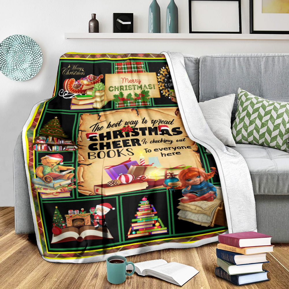 Personalized Fleece Throw Blanket The Best Way To Spread Christmas Cheer Is Checking Out Books To Every One Here Pattern 1 Lightweight Super Soft Cozy For Decorative Couch Sofa Bed