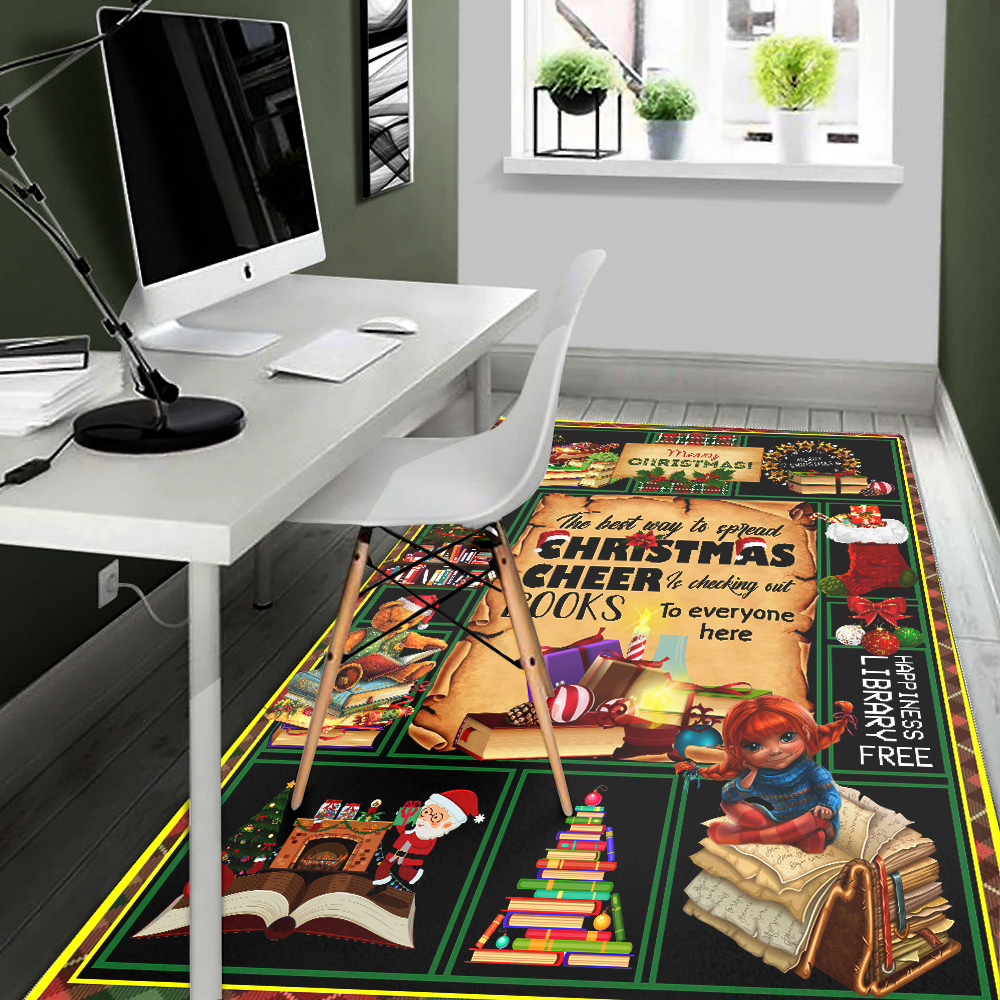Personalized The Best Way To Spread Christmas Cheer Is Checking Out Books To Every One Here Pattern 1 Vintage Area Rug Anti-Skid Floor Carpet For Living Room Dinning Room Bedroom Office