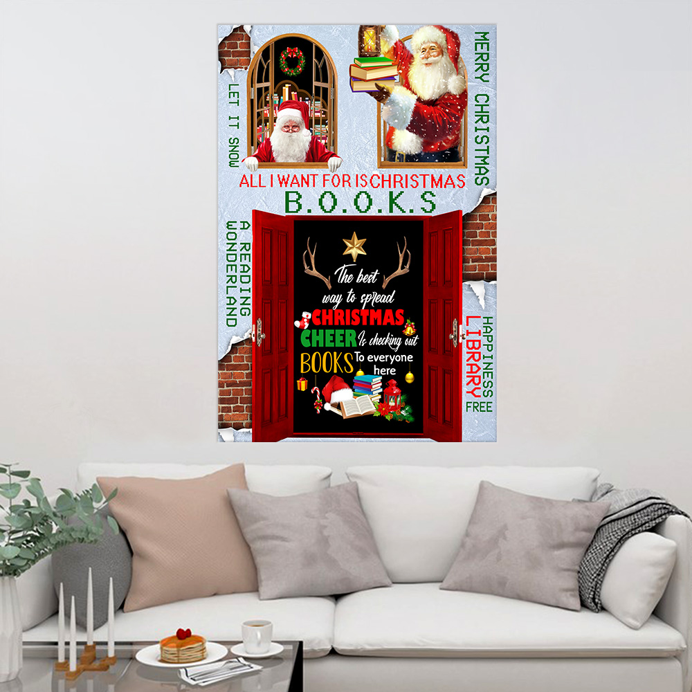 Personalized Wall Art Poster The Best Way To Spread Christmas Cheer Is Checking Out Books To Every One Here Pattern 2 Prints Decoracion Wall Art Picture Living Room Wall