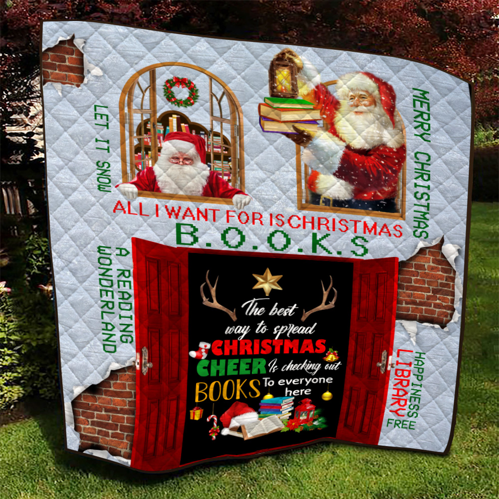 Personalized Quilt Throw Blanket The Best Way To Spread Christmas Cheer Is Checking Out Books To Every One Here Pattern 2 Lightweight Super Soft Cozy For Decorative Couch Sofa Bed