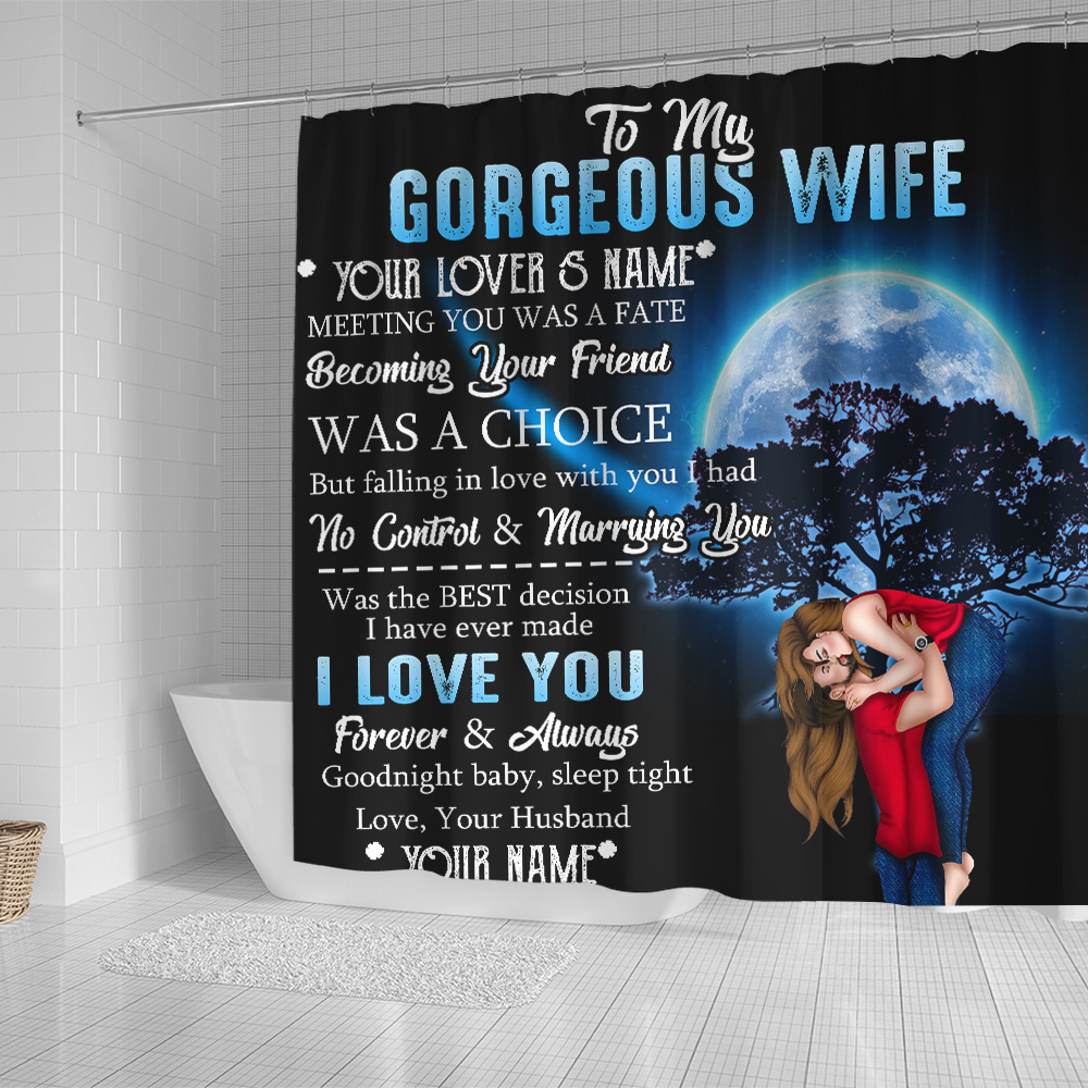 Personalized Shower Curtain 71 X 71 Inch To My Gorgeous Wife I Love You Forever& Always Pattern 2 Set 12 Hooks Decorative Bath Modern Bathroom Accessories Machine Washable