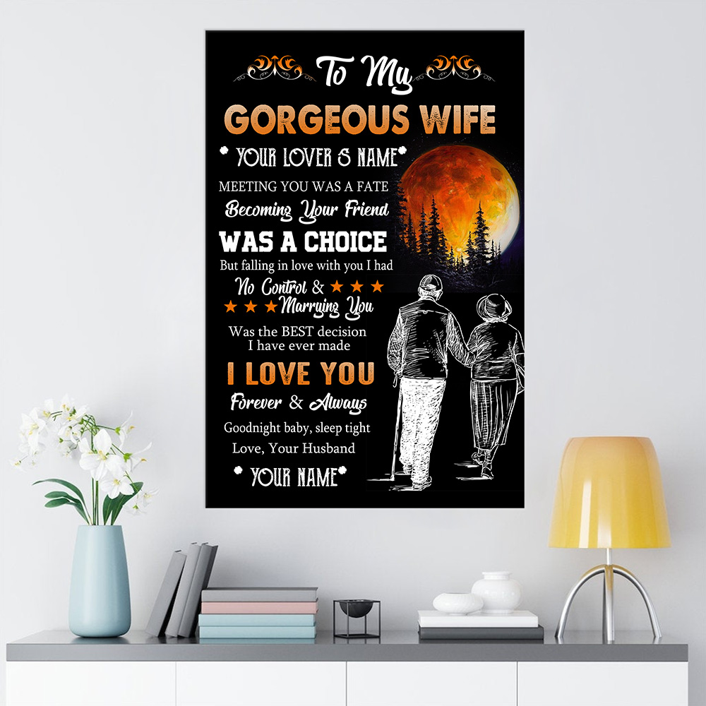 Personalized Wall Art Poster Canvas 1 Panel To My Gorgeous Wife I Love You Forever& Always Pattern 1 Great Idea For Living Home Decorations Birthday Christmas Aniversary