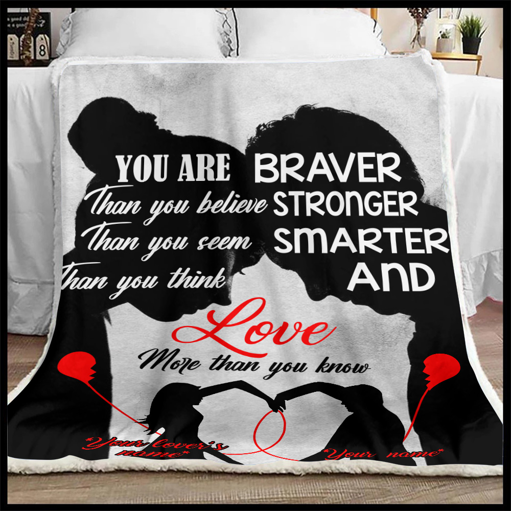 Personalized Fleece Throw Blanket You Are Braver Than You Believe Stronger Pattern 1 Lightweight Super Soft Cozy For Decorative Couch Sofa Bed