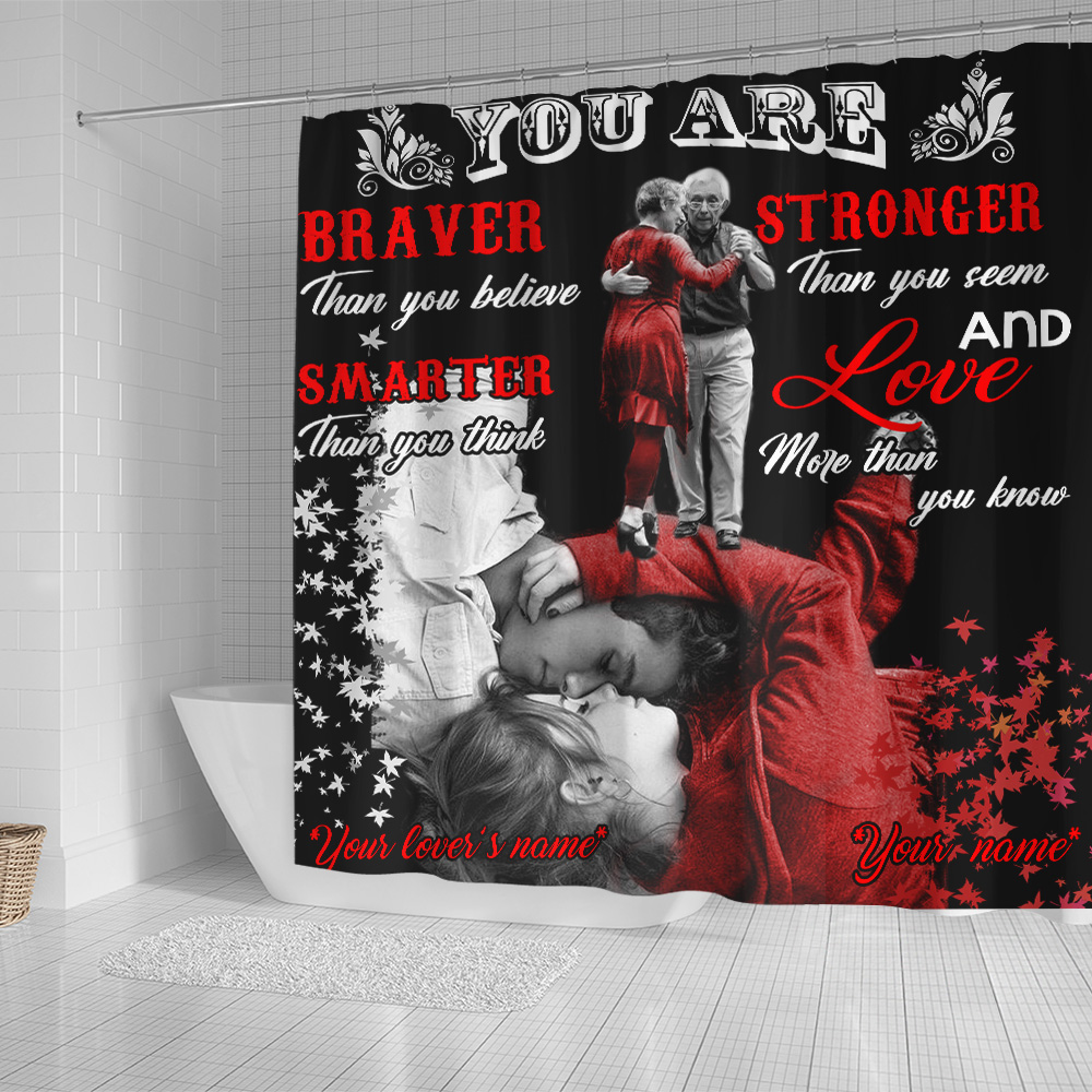 Personalized Shower Curtain 71 X 71 Inch You Are Braver Than You Believe Stronger Pattern 2 Set 12 Hooks Decorative Bath Modern Bathroom Accessories Machine Washable