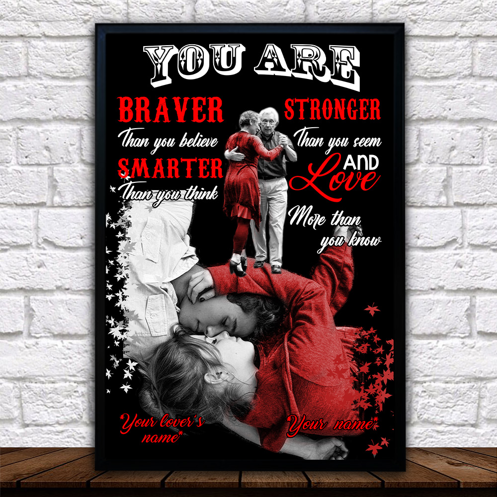 Personalized Wall Art Poster Canvas 1 Panel You Are Braver Than You Believe Stronger Pattern 1 Great Idea For Living Home Decorations Birthday Christmas Aniversary