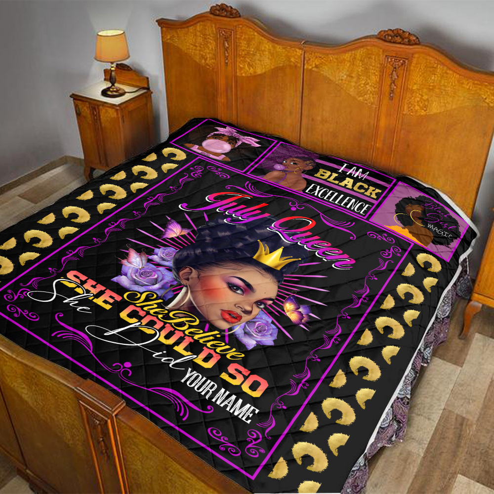Personalized Quilt Throw Blanket July Queen She Believe She Could So She Did Pattern 1 Lightweight Super Soft Cozy For Decorative Couch Sofa Bed