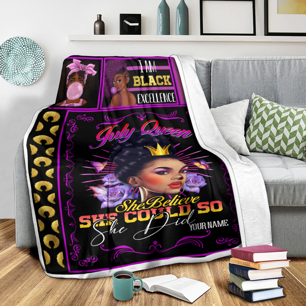 Personalized Fleece Throw Blanket July Queen She Believe She Could So She Did Pattern 1 Lightweight Super Soft Cozy For Decorative Couch Sofa Bed