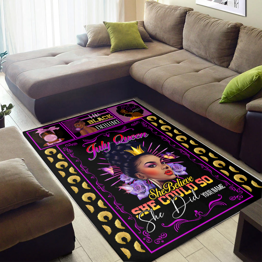Personalized July Queen She Believe She Could So She Did Pattern 1 Vintage Area Rug Anti-Skid Floor Carpet For Living Room Dinning Room Bedroom Office