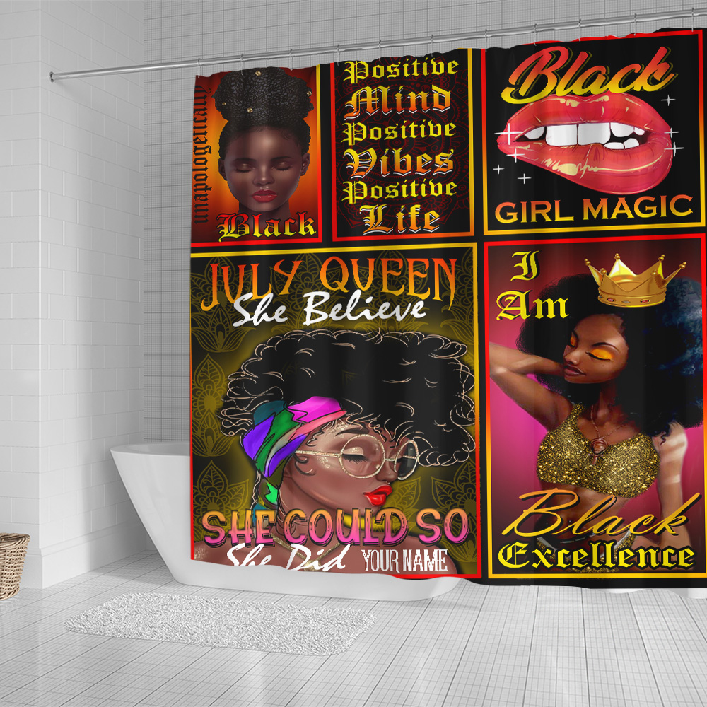 Personalized Shower Curtain July Queen She Believe She Could So She Did Pattern 2 Set 12 Hooks Decorative Bath Modern Bathroom Accessories Machine Washable