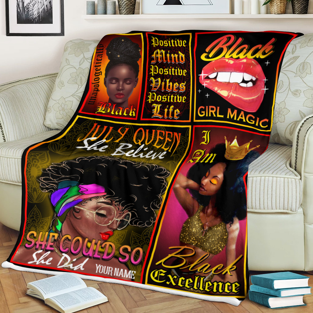 Personalized Fleece Throw Blanket July Queen She Believe She Could So She Did Pattern 2 Lightweight Super Soft Cozy For Decorative Couch Sofa Bed