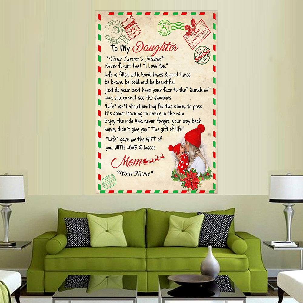 Personalized Wall Art Poster Canvas 1 Panel To My Daughter Life Gave Me The Gift Of You With Love & Kisses Great Idea For Living Home Decorations Birthday Christmas Aniversary