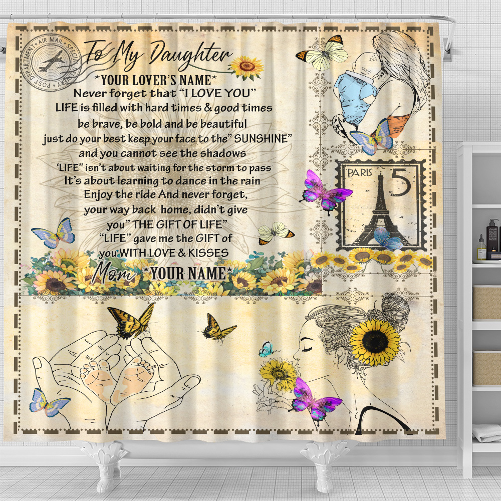 Personalized Shower Curtain 71 X 71 Inch To My Daughter Life Gave Me The Gift Of You With Love & Kisses Set 12 Hooks Decorative Bath Modern Bathroom Accessories Machine Washable