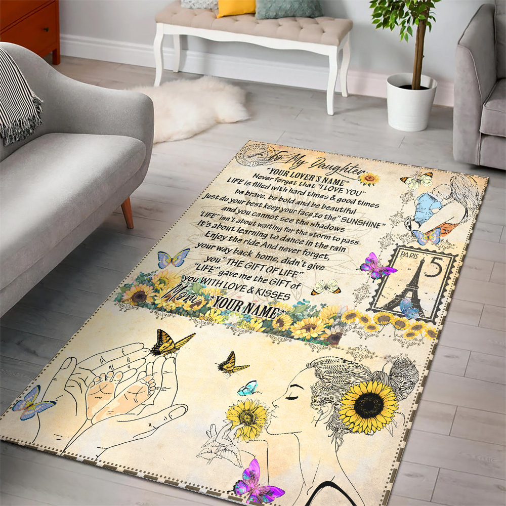 Personalized Floor Area Rugs To My Daughter Life Gave Me The Gift Of You With Love & Kisses Indoor Home Decor Carpets Suitable For Children Living Room Bedroom Birthday Christmas Aniversary