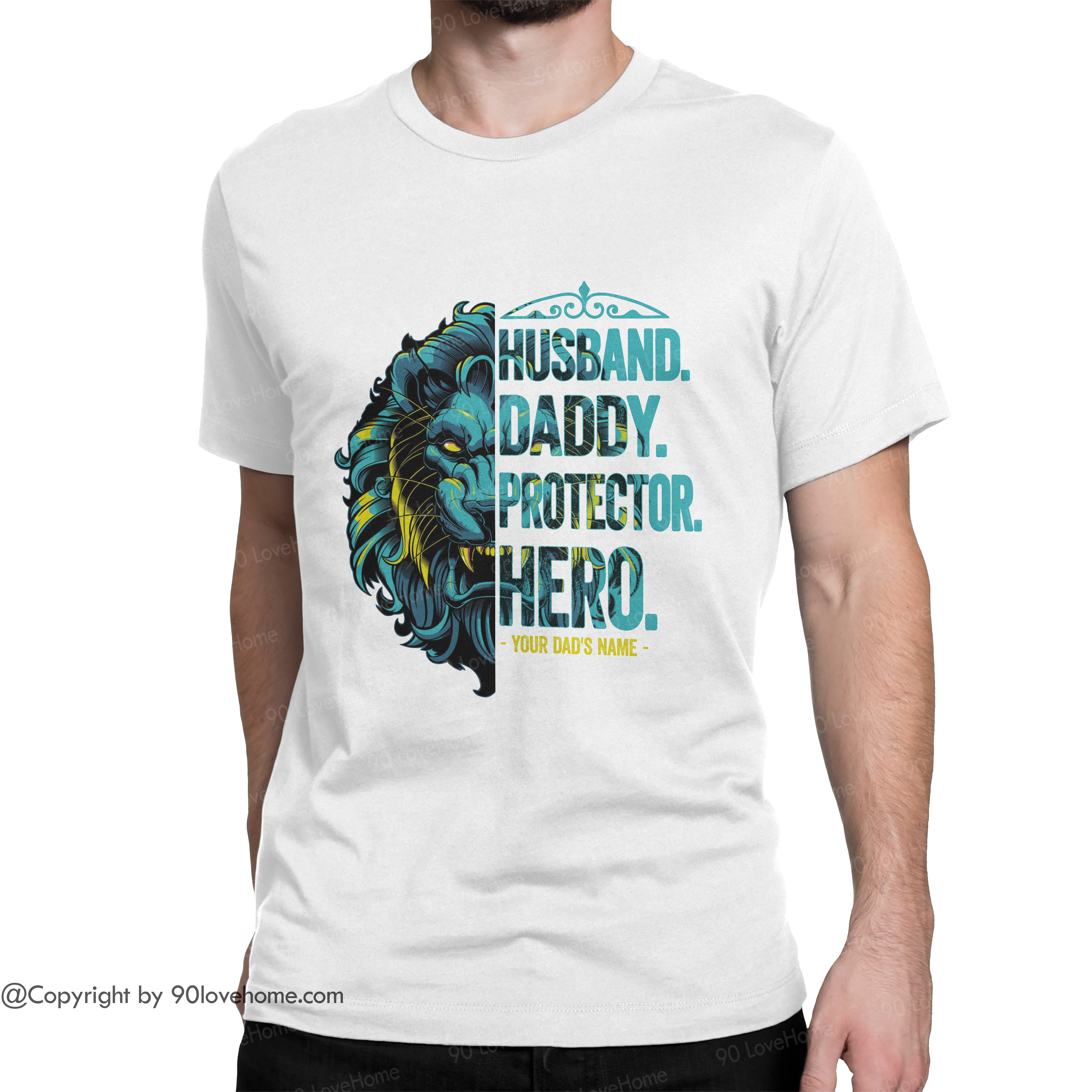 Personalized Husband Daddy Protector Hero Unisex T-shirt Super Dad Tee Father's Day Birthday Gift For Dad 90LoveHome