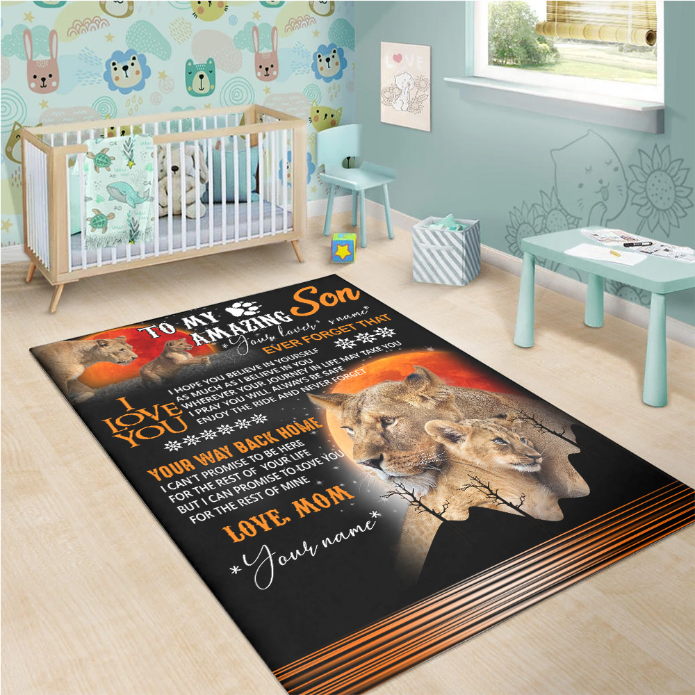Personalized Floor Area Rugs To My Amazing Son Your Way Back Home Indoor Home Decor Carpets Suitable For Children Living Room Bedroom Birthday Christmas Aniversary