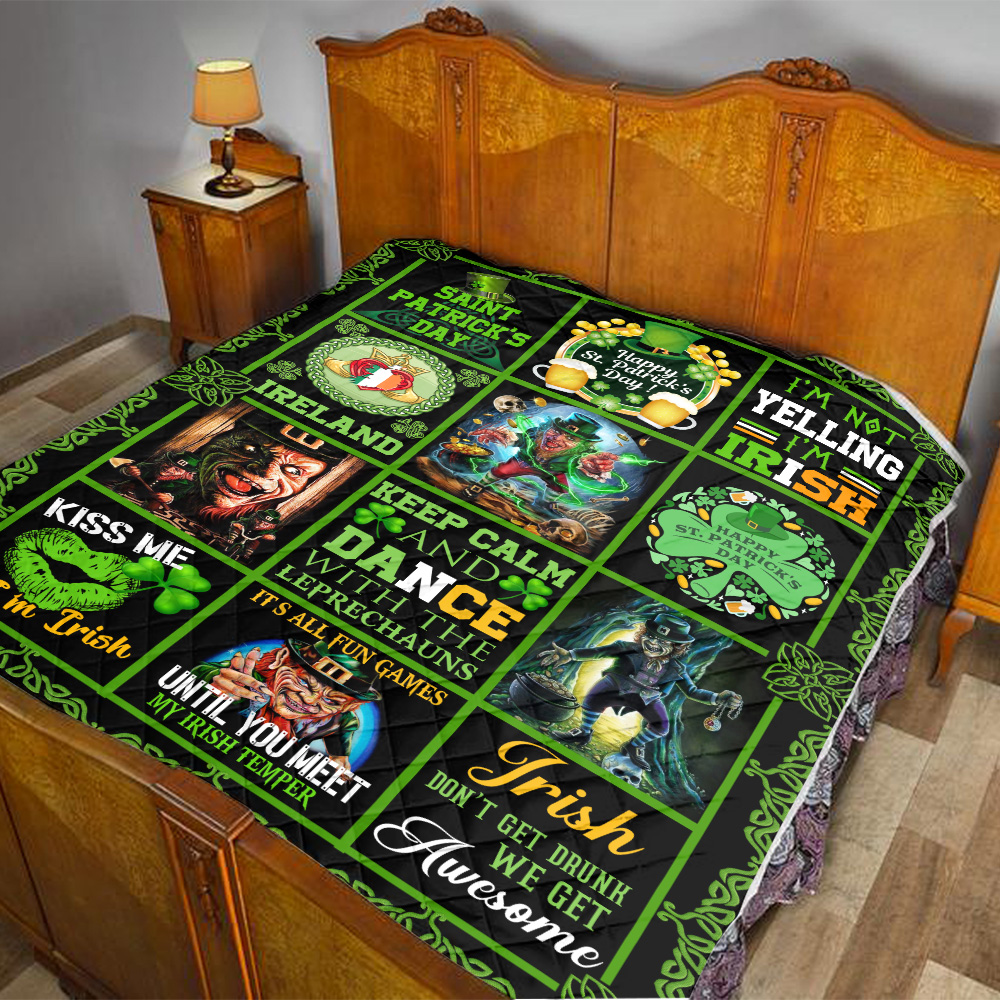 Personalized Lovely Quilt Throw Blanket St Patrick's Day Keep Calm And Dance With Leprechaun Pattern 1 Lightweight Super Soft Cozy For Decorative Couch Sofa Bed