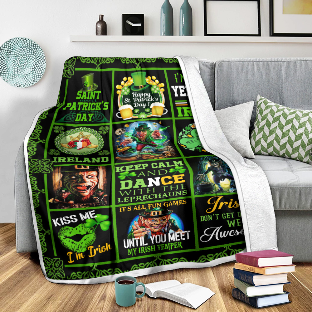 Personalized Lovely Fleece Throw Blanket St Patrick's Day Keep Calm And Dance With Leprechaun Pattern 1 Lightweight Super Soft Cozy For Decorative Couch Sofa Bed