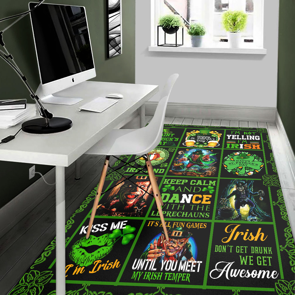 Personalized Lovely Rectangle Rug St Patrick's Day Keep Calm And Dance With Leprechaun Pattern 1 Vintage Area Rug Anti-Skid Floor Carpet For Living Room Dinning Room Bedroom Office