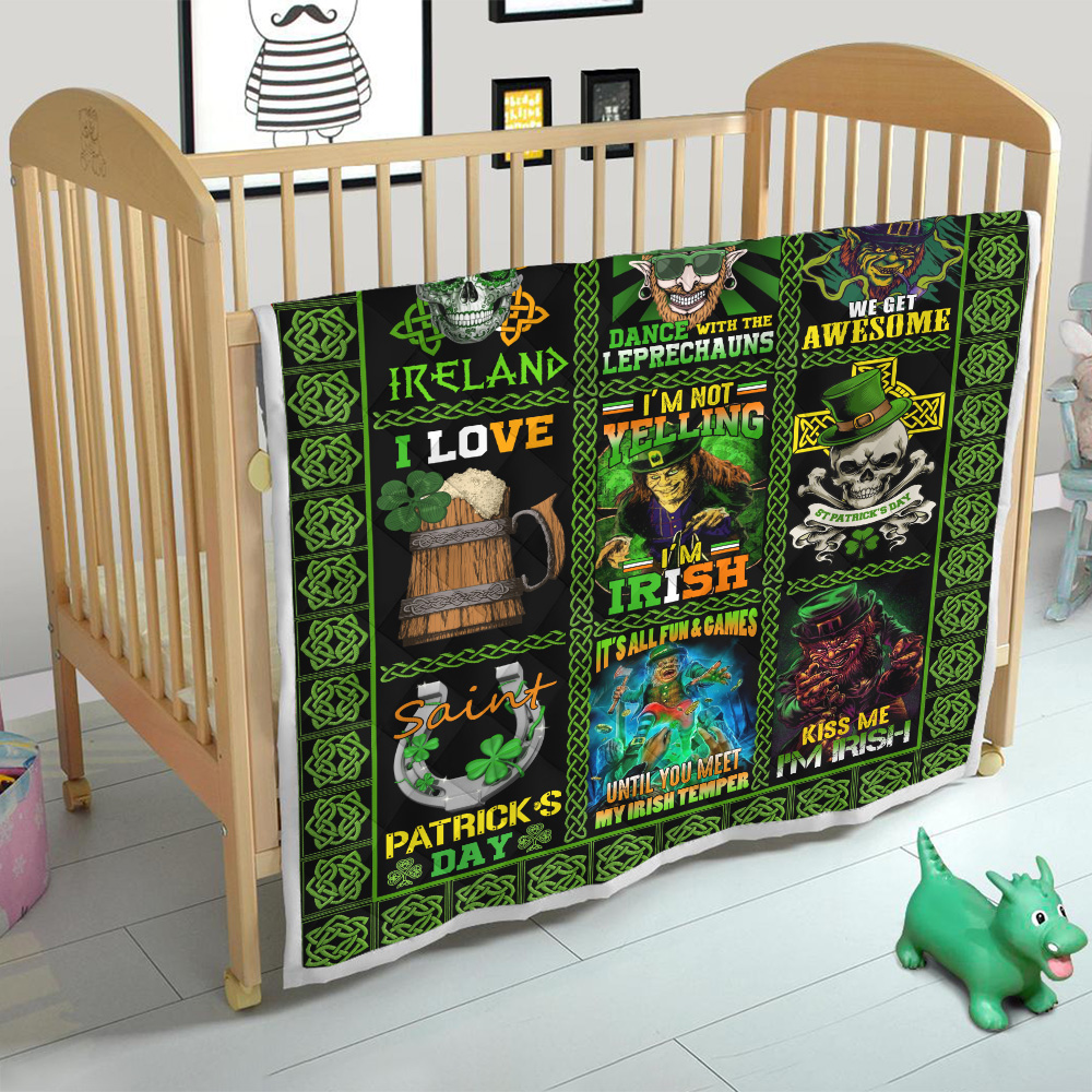 Personalized Lovely Quilt Throw Blanket St Patrick's Day Keep Calm And Dance With Leprechaun Pattern 2 Lightweight Super Soft Cozy For Decorative Couch Sofa Bed