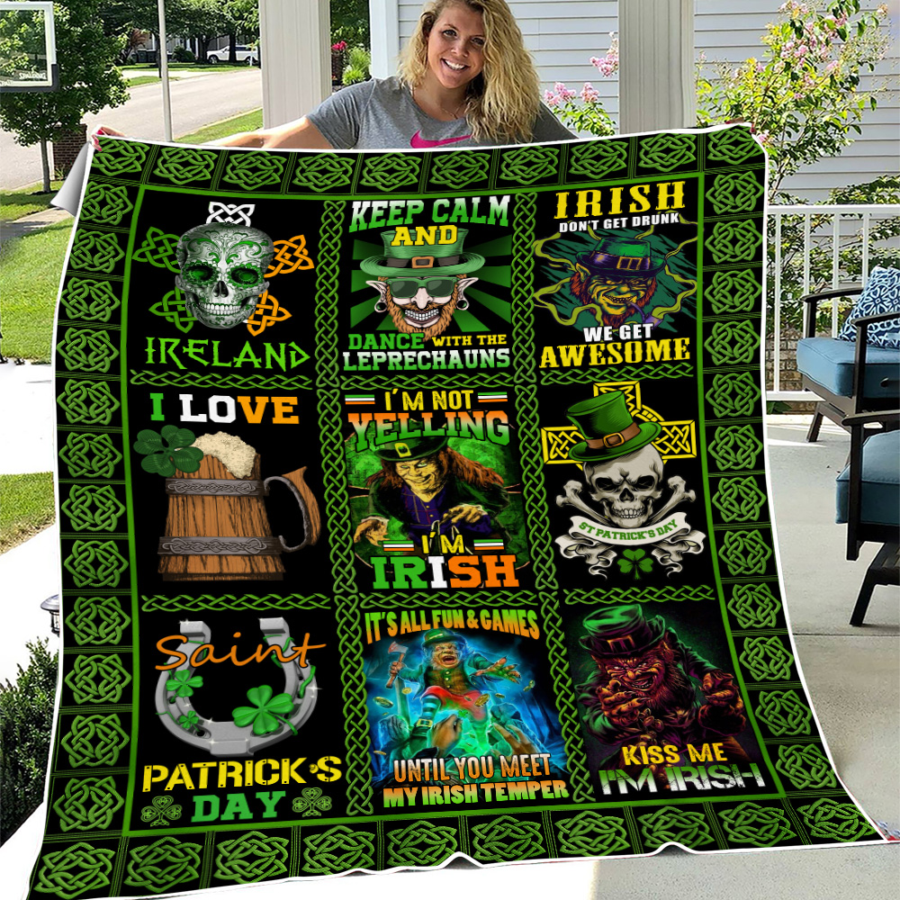 Personalized Lovely Fleece Throw Blanket St Patrick's Day Keep Calm And Dance With Leprechaun Pattern 2 Lightweight Super Soft Cozy For Decorative Couch Sofa Bed