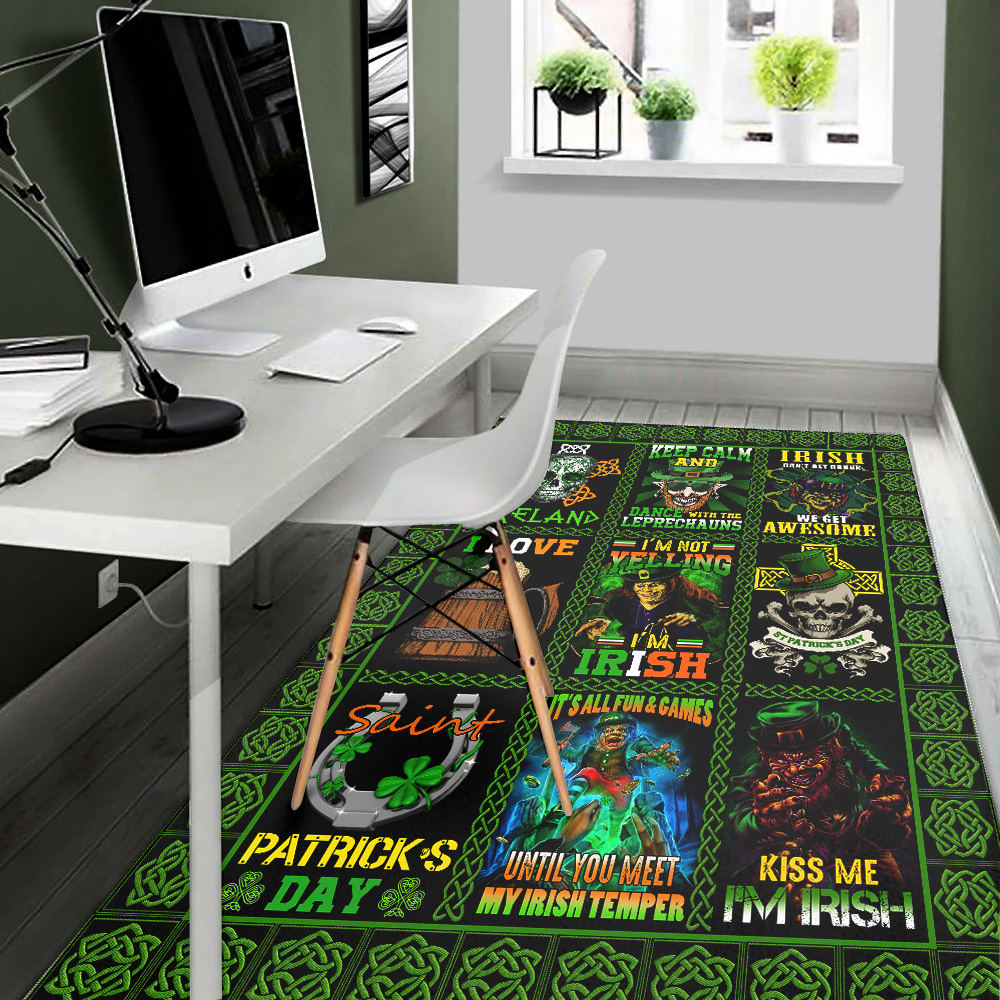 Personalized Lovely Rectangle Rug St Patrick's Day Keep Calm And Dance With Leprechaun Pattern 2 Vintage Area Rug Anti-Skid Floor Carpet For Living Room Dinning Room Bedroom Office