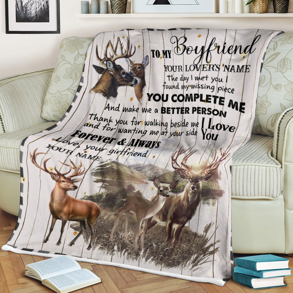 Personalized Lovely Fleece Throw Blanket To My Boyfriend The Day I Met You I Found My Missing Piece  Pattern 1 Lightweight Super Soft Cozy For Decorative Couch Sofa Bed