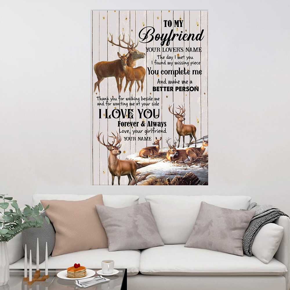 Personalized Lovely Wall Art Poster To My Boylfriend The Day I Met You I Found My Missing Piece  Pattern 2 Prints Decoracion Wall Art Picture Living Room Wall