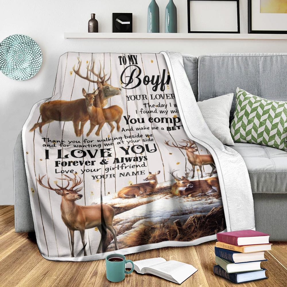 Personalized Lovely Fleece Throw Blanket To My Boyfriend The Day I Met You I Found My Missing Piece  Pattern 2 Lightweight Super Soft Cozy For Decorative Couch Sofa Bed
