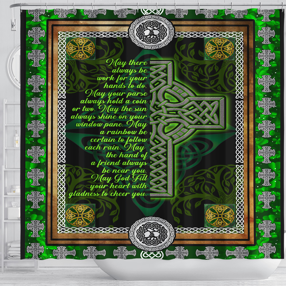 Personalized Lovely Shower Curtain St Patrick's Day Irish May God Fill Your Heart With Gladness Pattern 1 Set 12 Hooks Decorative Bath Modern Bathroom Accessories Machine Washable