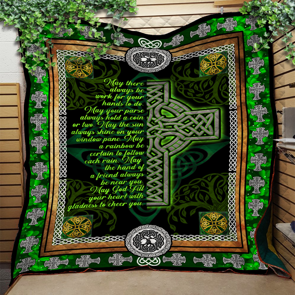 Personalized Lovely Quilt Throw Blanket St Patrick's Day Irish May God Fill Your Heart With Gladness Pattern 1 Lightweight Super Soft Cozy For Decorative Couch Sofa Bed