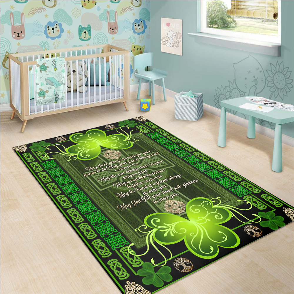 Personalized Lovely Rectangle Rug St Patrick's Day Irish May God Fill Your Heart With Gladness Pattern 2 Vintage Area Rug Anti-Skid Floor Carpet For Living Room Dinning Room Bedroom Office