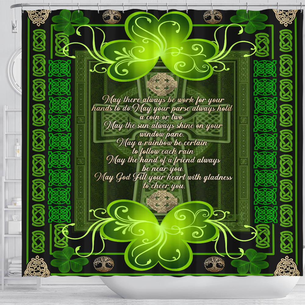 Personalized Lovely Shower Curtain St Patrick's Day Irish May God Fill Your Heart With Gladness Pattern 2 Set 12 Hooks Decorative Bath Modern Bathroom Accessories Machine Washable